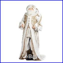 Katherine´s Collection Weihnachtsmann Santa Lebensgroß Weiß Gold Samt 180cm NEU