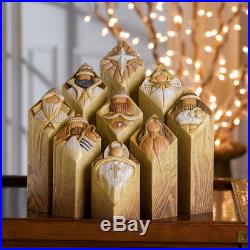 Kim Lawrence Pillars Of Heaven Nativity Tree Pillar Statues