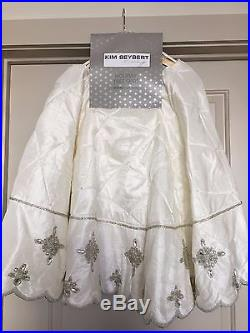 Kim Seybert Cream Ivory White Beaded Christmas Tree Skirt Brand New