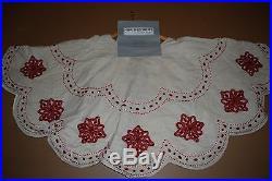 Kim Seybert Holiday Beaded Red Sequin Christmas Tree Skirt 58 Ivory Gorgeous