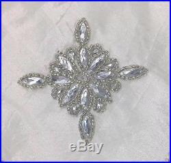 Kim Seybert Ivory Silver 62 Christmas Tree Skirt Beaded Jewel Luxury Designer