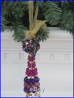 Kim Seybert Tassel Ornament New Plum / Gold Sold Out Beaded Strands & Ball