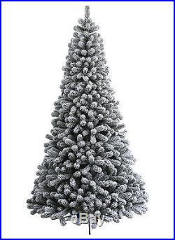 King Of Christmas 8 Foot Prince Flock Christmas Tree with Warm White LED Lights