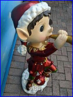 Kringle Express 36 Oversized Indoor Outdoor Illuminated Elf w Trumpet Christmas