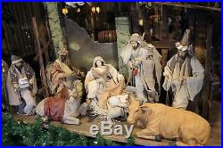 Krippenfiguren Heilige Familie Krippe Maria Josef 3 Könige Esel Ochse Stall 72cm