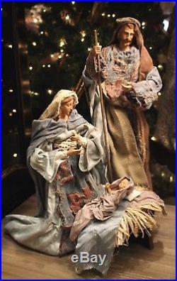 Krippenfiguren Heilige Familie Krippe Maria Josef Jesus 47cm Nativity Stoff NEU