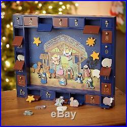 Kurt Adler J3767 Wooden Nativity Advent Calendar 24 Magnetic Pieces Figures