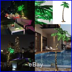 LARGE Artificial Xmas 7FT Palm Tree With 96 LED Lights Iron Stand Outdoor Decor