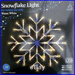 LARGE FESTIVE WARM GLOW WHITE SNOWFLAKE LIGHT XMAS CHRISTMAS LED LIGHT