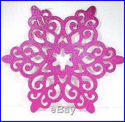 LARGE PINK GLITTER SNOWFLAKE CHRISTMAS ORNAMENT 15 OUTSIDE INSIDE HOLIDAY DECOR