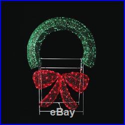 LB International 48 Lighted Crystal 3-D Outdoor Christmas Wreath Decor