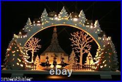 LED 3D-Schwibbogen Seiffen Kirche Kurrende 52x32cm Erzgebirge Lichterbogen