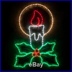 LED Christmas Rope Light Display Decor Window Yard Outdoor Candle with Holly 40