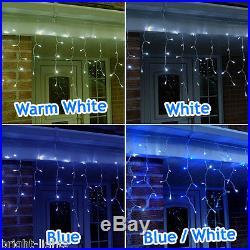 Led Icicle Lights Outdoor Xmas Christmas Lighting Warm White / White / Blue Uk