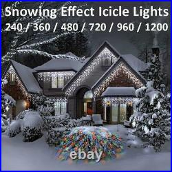 LED Icicle Snowing Effect Lights Wedding Party Xmas Indoor Outdoor Memory Timer