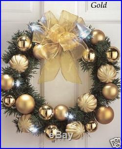 LED Lighted Christmas Door/Wall Decor Holiday Ornament Wreath 15 Shiny, GOLD