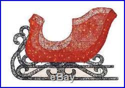 LED Lighted Red Acrylic Santa Sleigh Outdoor Holiday Christmas Yard Home Decor