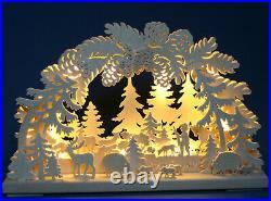 LED Schwibbogen 43cm x 30cm Waldmotiv mit Tieren Lichterbogen aus dem Erzgebirge