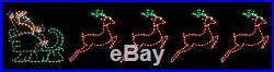 LG Santa in Sleigh w 4 Reindeer Outdoor LED Lighted Decoration Steel Wireframe