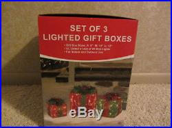 LIGHTED CHRISTMAS GIFT BOXES SET OF 3 INDOOR OUTDOOR LAWN YARD DECORATION