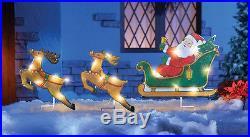 LIGHTED COLORFUL SANTA & REINDEER CHRISTMAS OUTDOOR HOLIDAY YARD DECOR NEW