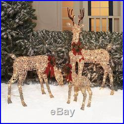 LIGHTED DEER Family Outdoor Christmas Decor Garden Yard Xmas Decoration 3 PIECE