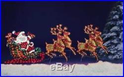 LIGHTED Santa in his sleigh & 4 reindeer Christmas Holiday Outdoor Yard Decor