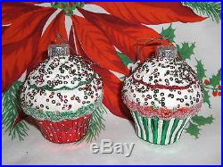 LOT 2 CUPCAKES RED & GREEN GLASS CHRISTMAS TREE ORNAMENTS NEW