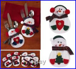 LOT OF 8 FELT CHRISTMAS SNOWMAN SILVERWARE / CUTLERY HOLDERS HOLIDAY TABLE DECOR