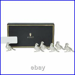 L'object Bird Place Card Holders Set of Six Platinum New & Boxed- Gift