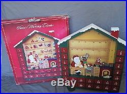 Large 24 Kirkland Wooden Wood Advent Christmas Calendar Santa Workshop Noel