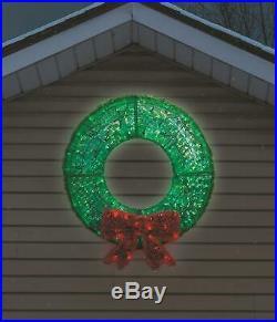 Large 36 Lighted LED Christmas Wreath Sculpture Outdoor Christmas Decor Yard