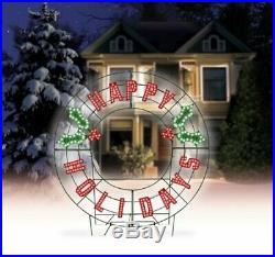 Large 40 LED Lighted Happy Holidays Christmas Sign Wreath Yard Decor NEW
