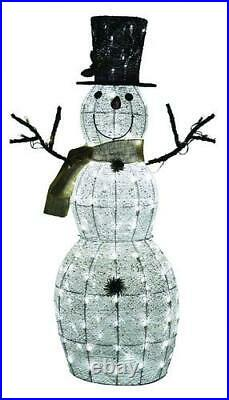 Large 48 Prelit LED Cotton Snowman Sculpture Home Lawn Garden Christmas Decor