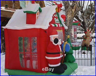 Large 8 Foot Airblown Inflatable Animated Santa's Workshop w/rotating scene RARE
