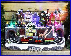 Large Animated Christmas Village Scene With Moving Train & LED Lights Xmas