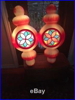 Large Beco Blow Mold Hanging Ornaments-Stain Glass Look-Pair