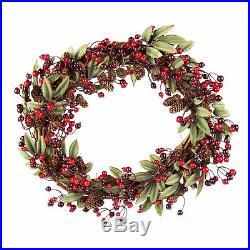 Large Christmas Handmade Hanging Door Wreath 45cm Xmas Red Berry & Pinecones