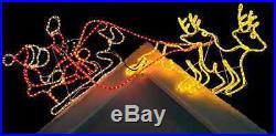 Large Christmas Pre-lit Santa Sleigh Reindeer 1.6m LED Rope Light Xmas Decor NEW
