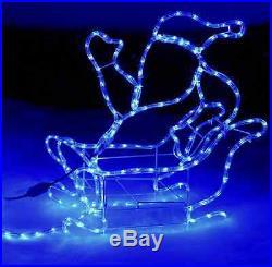 Large Christmas Reindeer Santa Sleigh LED Rope Lights Silhouette Xmas Decoration