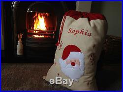 Large Embroidered Personalised Christmas Santa Sack xmas stocking 50 x 70 cms