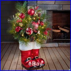 Large Floral Santa Boot 36 Christmas Decoration 35 LED Lights Indoor Outdoor