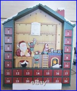 Large Kirkland Wooden 24 Advent Christmas Calendar Santa Workshop 24 Items BNIB