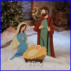 Large Nativity Scene Metal Outdoor Jesus Mary Joseph Christmas Yard Art 3-pc Set