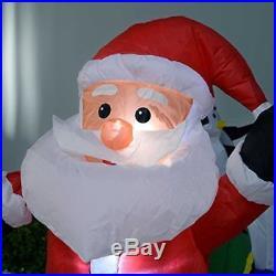 Large Outdoor Christmas Inflatable Pre-Lit LED Lights Fan Santa Train Decoration