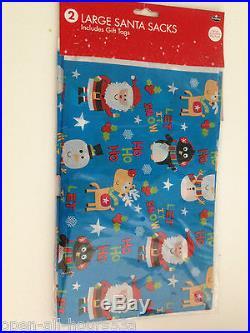 Large Plastic Santa Sacks Blue Gift Tags Santa Xmas Christmas Kids Stocking