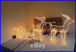 Large Reindeer With Sleigh Garden Christmas Display Light Rope Light Free P & P