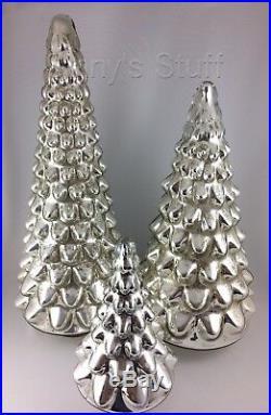 Large Silver Pottery Barn Lit Mercury Glass Tree Christmas Centerpiece Nib Decor World