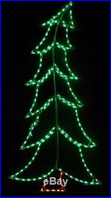 Large Tilted Xmas Tree Holiday Outdoor LED Lighted Decoration Steel Wireframe