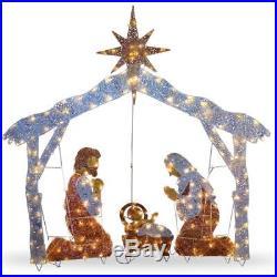 Led Outdoor Nativity Set Christmas Scene Lights Crystal Holiday Decorations 72